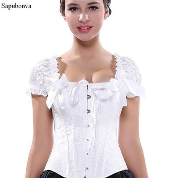 Sapubonva corsets bustiers tops clothing black white overbust gothic corsets with straps vest halter sexy bridal corselet ladies