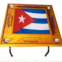 Cuba Domino Table with the Flag