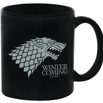 Game of Thrones HBO Stark Winter Is Coming Direwolf Sigil Ceramic Coffee Cup Mug