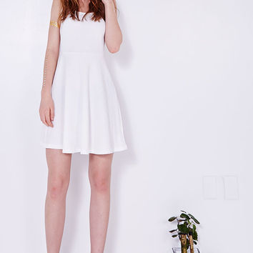 White Michelle Fit and Flare Dress