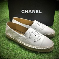 Best Online Sale Fashion Chanel Logo Canvas White Espadrilles Flats Stitched Slip On S