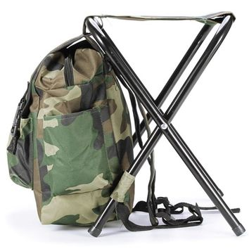 Camouflage Backpack with Attached Fishing Stool