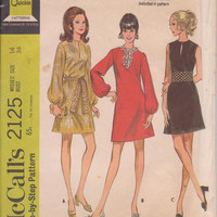 1960s vintage pattern for A line party or cocktail dress long sleeved or sleeveless misses size 14 McCalls 2125 CUT and COMPLETE