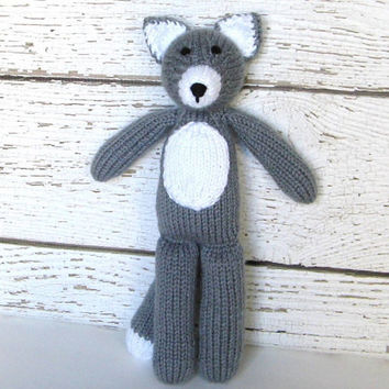 Knit Toy, Hand Knit Gray Wolf, Plush Doll, Ready To Ship, Stuffed Animal Woodland Animal Child Toy Baby Shower Gift Toddler Gift 12 1/2""