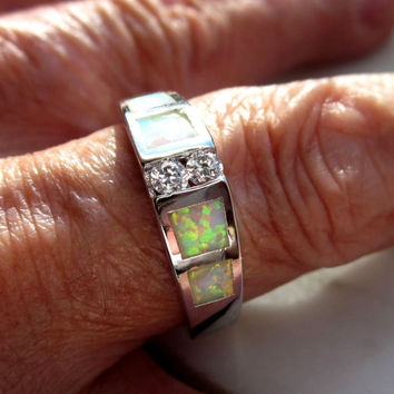 Sterling opal ring 925 fire opal ring fire opal jewelry silver opal jewelry crystal accents size 8 3/4 opal crystal opal jewelry clearance