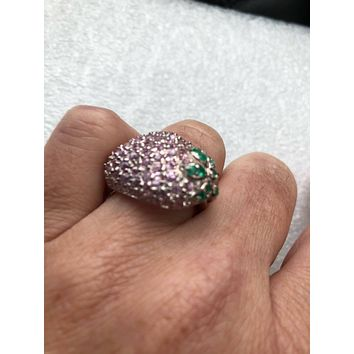 Vintage Handmade pink Tourmaline  setting 925 Sterling Silver strawberry Ring