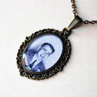 18-year-old James Dean in a Photo Booth, 1949 - Handmade Vintage Cameo Pendant Necklace