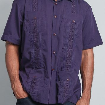 Men's Short Sleeve Cuban Style Guayabera Shirt 2000-1 (Dark Purple)