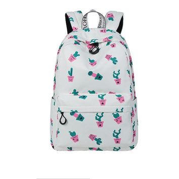 University College Backpack Cute Waterproof Women  Cactus Pattern Printing Large Capacity Girls  BookbagsAT_63_4