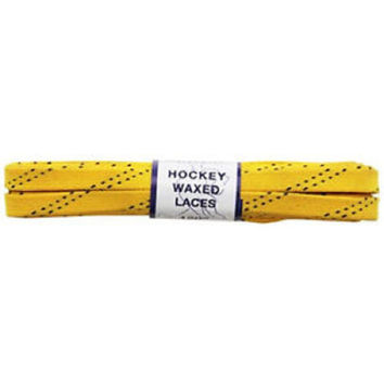 Proguard Plastic Tipped Waxed Hockey Lace , Yellow, 120-Inch