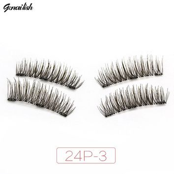 Genailish 3 Magnet 6D Magnetic Eyelashes Magnet Magnetic Lashes Magnetic False Eyelashes Magnetic Eye Lashes Makeup 24P-3