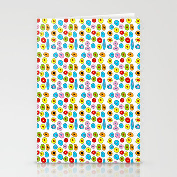 multicolor 3 polka dot-polka dot,pattern,dot,polka,circle,disc,point,abstract,kitsch Stationery Cards by oldking