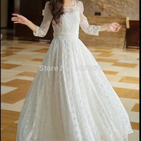 Renaissance Gown  dress floral lace full embroidery  Victorian Gothic/Marie Anto