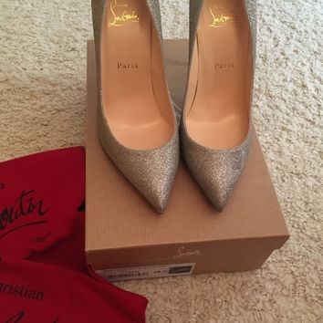CHRISTIAN LOUBOUTIN Pigalle Follies 100 Sparkle Pumps Heels Shoes