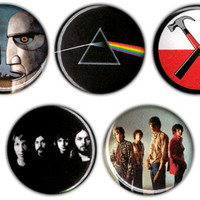 Set of 5 Pink Floyd 1.25 inch pin buttons