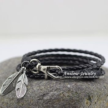 Fashion Jewelry PU Leather Charm Friendship Bracelets & Bangles Feather Accessories Wedding Men Jewelry Free Shipping