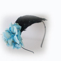 Spring Wedding Corsage Headband in Light Blue and by skullpixie
