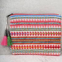 Candy Carnival Hot Pink Embroidered Clutch