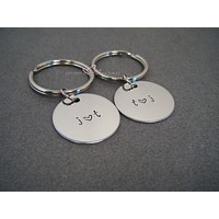 Circle Keychains with Custom Initials, Couples Keychains
