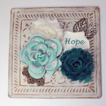 "Home Decor ~ Wall Plaque ~ Floral Wall Hanging ~ 6.25"" x 6.25"" ~ Metal, Antiqued Decor"