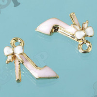 Tiny Pink High Heel Shoe Charm With Bow