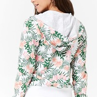 Tropical Print Zip-Up Hoodie