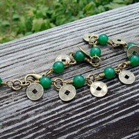 Inner Peace - Green Aventurine Gemstone and Luck Coin Charm - Antiqued Brass Wire Link Bracelet