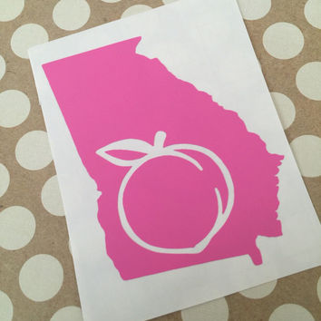 Georgia Peach Decal | Sweet Georgia Peach  | Homestate Decals | Georgia Home Decal| Love Decal  | Car Decal | Car Stickers | Bumper | 102