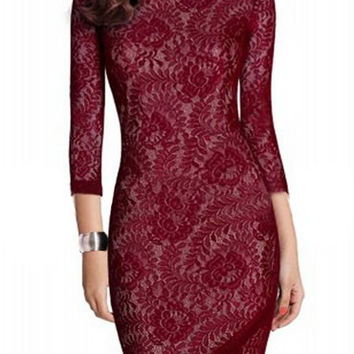 Red Vintage Slit Bodycon Cut Out Lace Dress