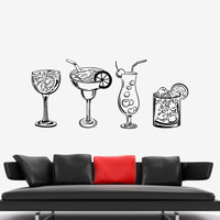 Vinyl Wall Decal Nightclub Cocktail Party Alcohol Booze Stickers Unique Gift (962ig)