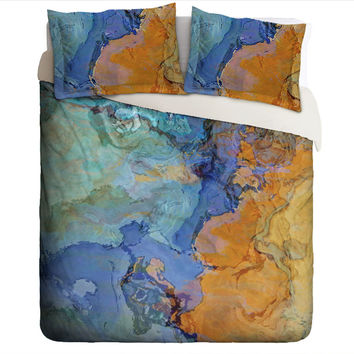 Abstract art Duvet Cover, king or queen in dark orange, blue and aqua, The Bridge