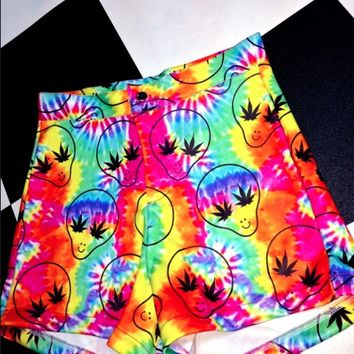 SWEET LORD O'MIGHTY! TIEDYE STONER ALIEN BOOTY SHORTS