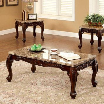 3 Piece Table Set With Marble Table Top, Dark Oak Brown