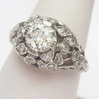 Plat 75 pt European Diamond and 33 pt Sides Ring by KlinesJewelry