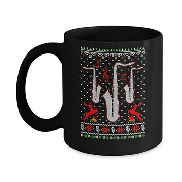 Santa Saxophone Ugly Christmas Sweater Gifts Mug