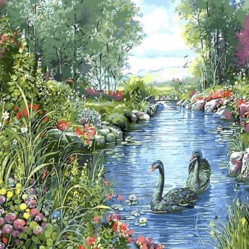 Unframe Swan Lover Animal DIY Painting By Numbers Acrylic Painting On Canvas Kits Drawing Painting By Numbers Wedding Decoration
