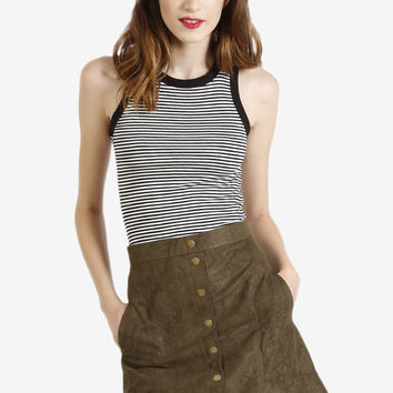 Faux Suede Button Down Skirt - Olive
