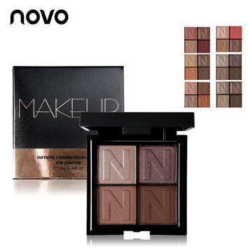 NOVO Infinite Charm 4 Color Matte Glitter Eyeshadow Palette Professional Shimmer Cosmetic Naked Makeup Smoky Shining Eye Shadow