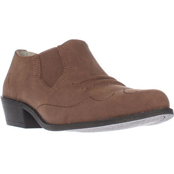 Dolce by Mojo Moxy Latigo Slip-on Western Ankle Booties, Sand, 9 US