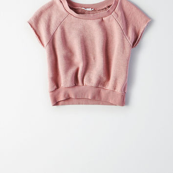 Don't Ask Why Cutoff Crop Sweatshirt, Rose