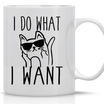 I Do What I Want - Funny Grumpy Cat Mug - 11OZ Coffee Mug - Perfect Gift for Mother's Day - Mugs For Women Cat Lover Mug - Crazy Bros Mugs