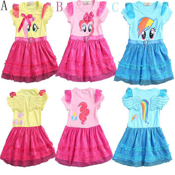 2016 little girls new fashion color gauze dress girls tutu dress My pony kids cartoon princess baby lace sequin dress clothes