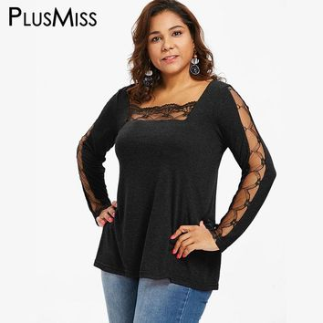 PlusMiss Plus Size Sexy Lace Mesh Sheer Tops Tees Women Autumn Long Sleeve Tunic T Shirt Ladies Big Size T-shirts Female 2018