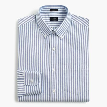 Ludlow Slim-fit oxford shirt in blue stripe