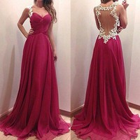 Wine Red Patchwork Grenadine Ruffle Lace Condole Belt Love Sheer Special Occasion Dress