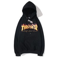 THRASHER fashion hot seller couple flame letters casual hoodie #10