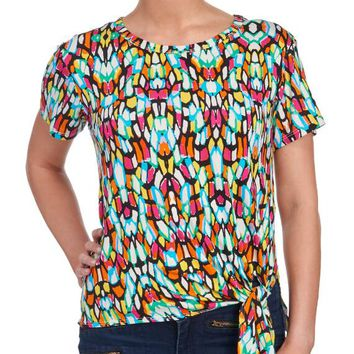 Abstract Print Side Tie Tee Shirt