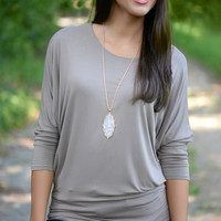 Taupe Dolman Top