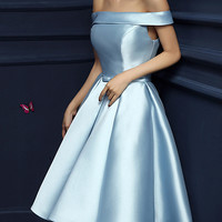 Light Blue Off Shoulder Bow Waist Homecoming Bandeau Dress