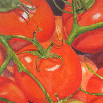 Tomato Kitchen Art, Vegetable Watercolor Painting, Kitchen Wall Decor, Tomato Art Print, Vegetable Food Decor Art Gift, Barbara Rosenzweig